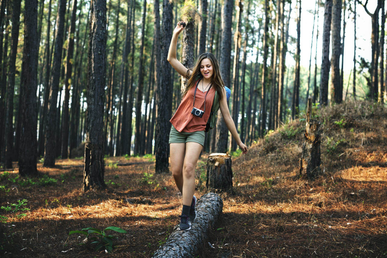 Woman Experiencing Camping as Niche Experience of Touring