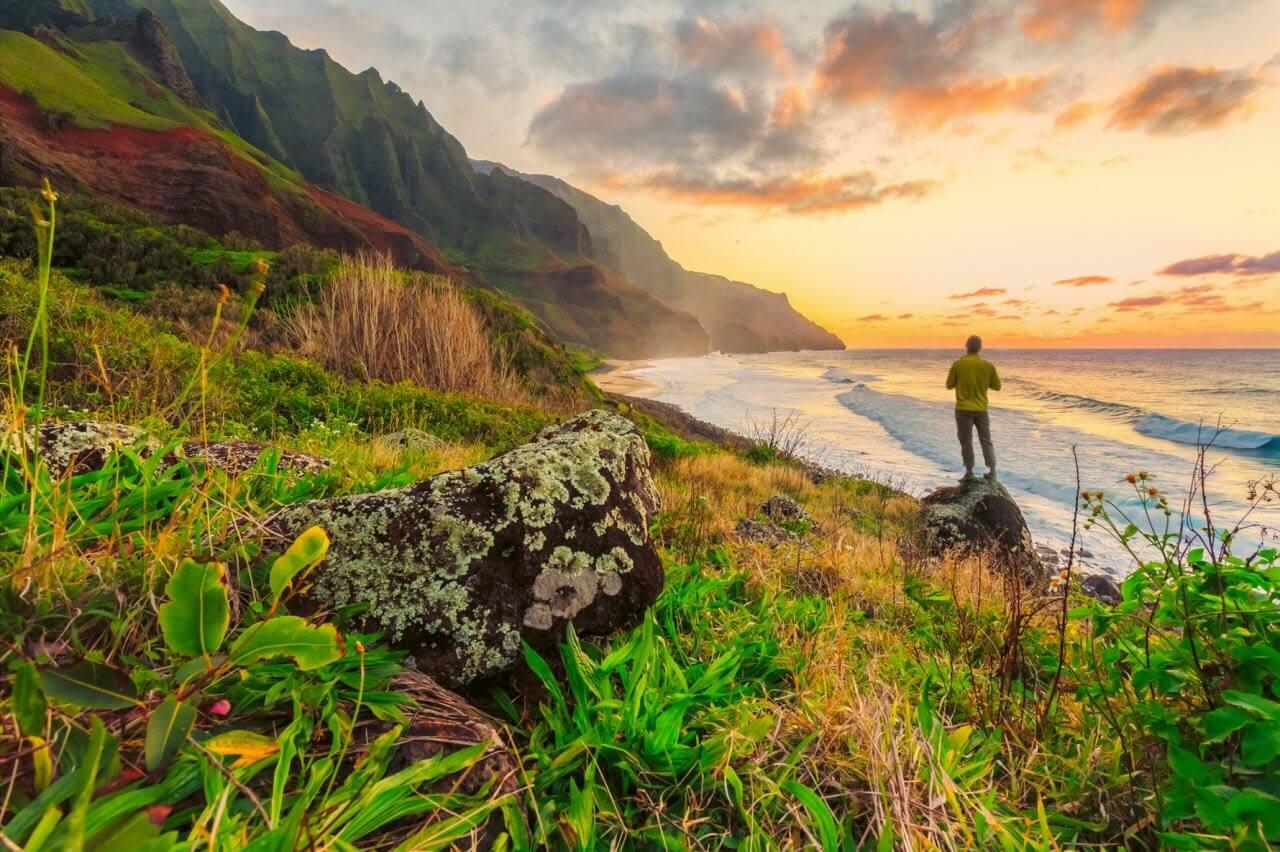 Man Exploring Remote Island