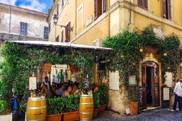 People enjoying food in Rome